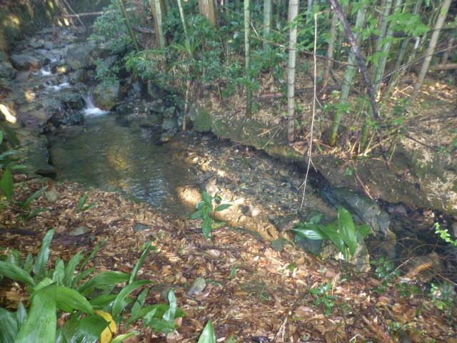 ③建物(南側)の横に小川が流れています。