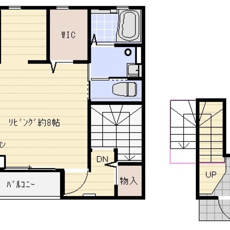 玄関(1F)から上がった2Fがお部屋になります