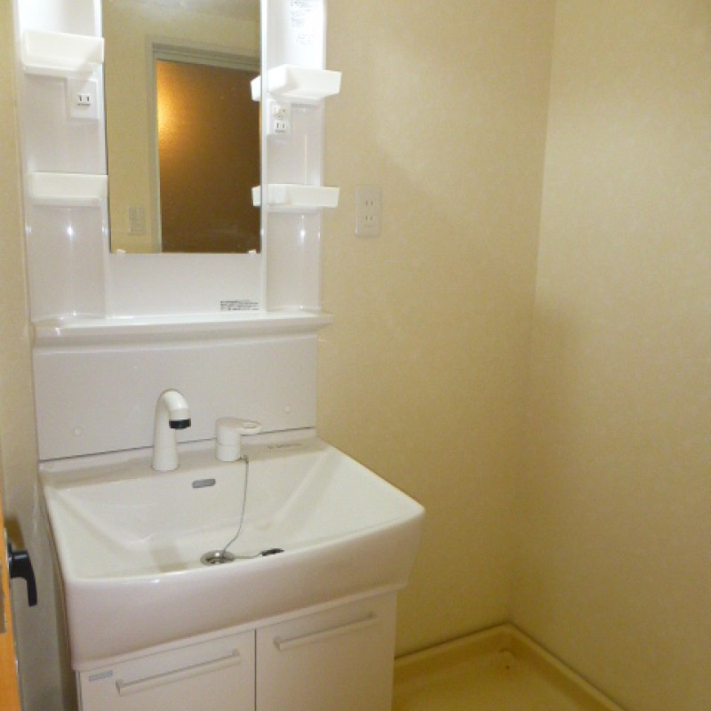 脱衣所も兼ねた洗面台はシャワー水洗式の洗面化粧台がついています。