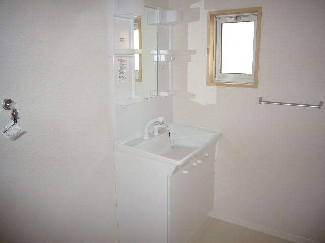 脱衣所も兼ねた洗面所にはシャワー水栓式の洗面化粧台がついています。