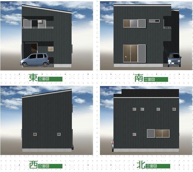 建築プラン例①立面図