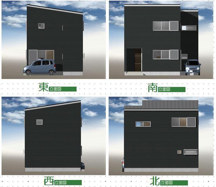 建築プラン例②立面図