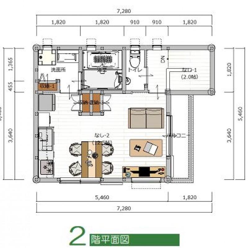 建築プラン例①2F平面図