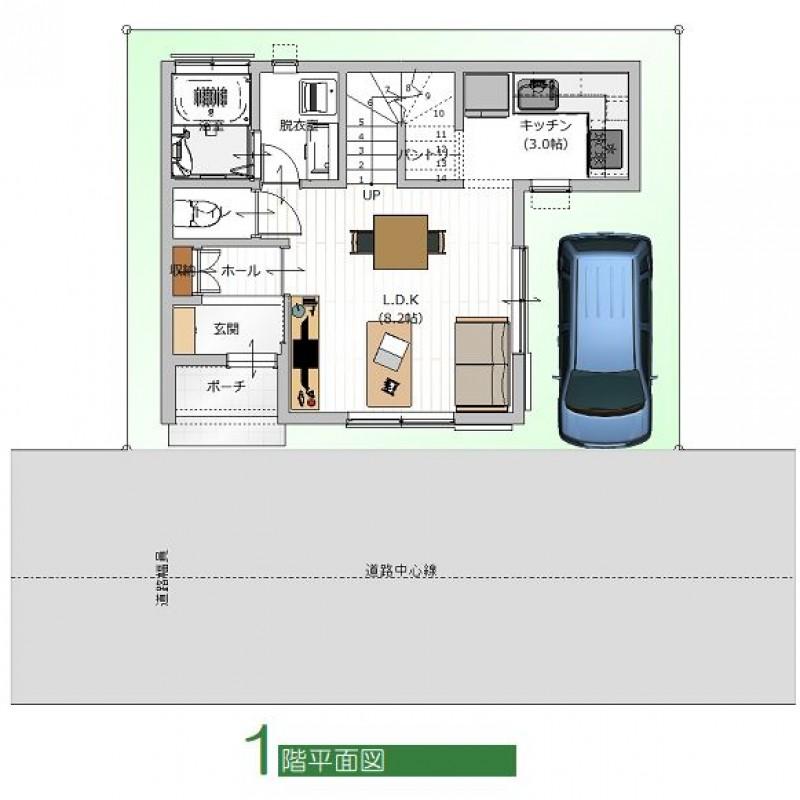 建築プラン例②1F平面図