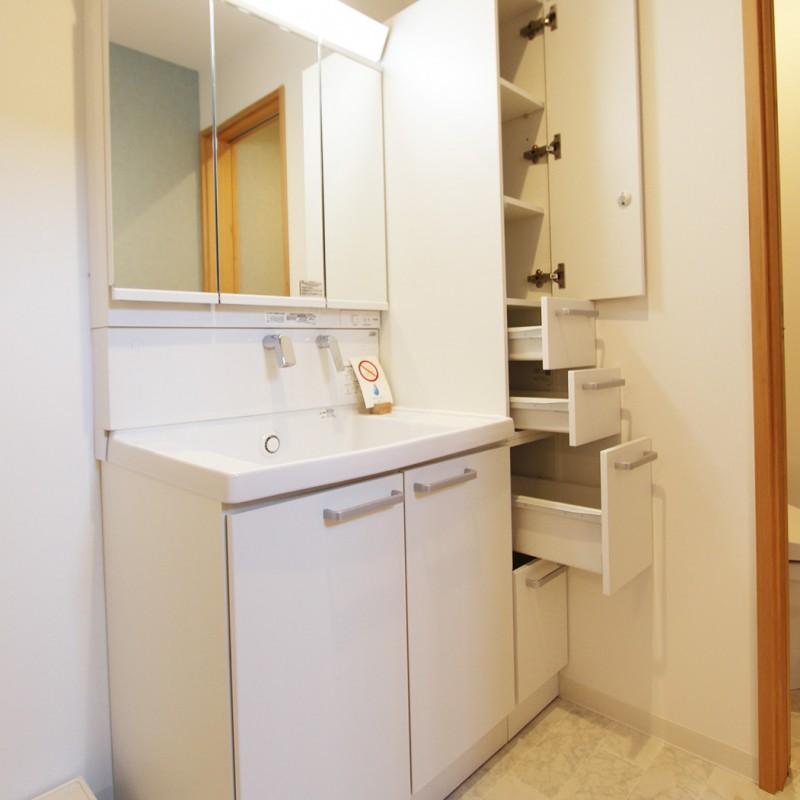 収納豊富、シャンプードレッサー付き、三面鏡の洗面台です